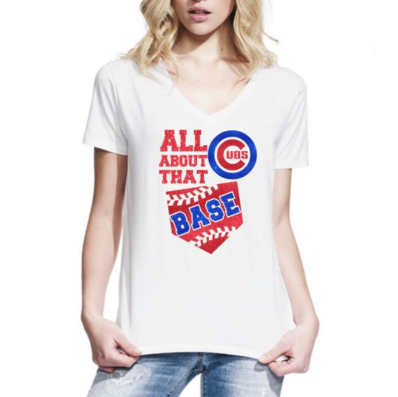 All About That Base Chicago Cubs Glitter - White V Neck Shirt