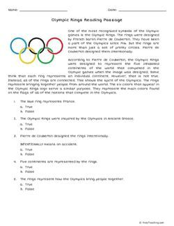 image relating to Printable Olympic Tv Schedule referred to as Absolutely free Olympics Reading through Website page and studying comprehending
