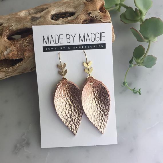 Genuine Leather Earrings – Chevron Leather earring – Bohemian Chic – Joanna Gaines Inspired