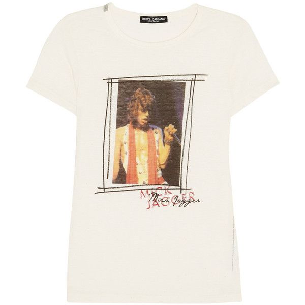 Dolce & Gabbana Mick Jagger-print jersey T-shirt (480 CNY) ❤ liked on Polyvore featuring tops, t-shirts, shirts, tees, off white t shirt, off white shirt, multi color t shirts, patterned shirts and polyester t shirts