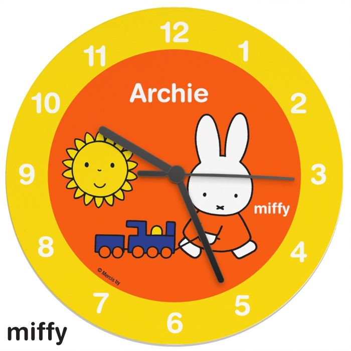 Personalised Miffy Wooden Clock This Miffy Wooden Clock can be personalised with a name up to 12 characters long. All personalisation is case sensitive and will appear as entered.  This would be a wonderful addition to any nursery. £26.99