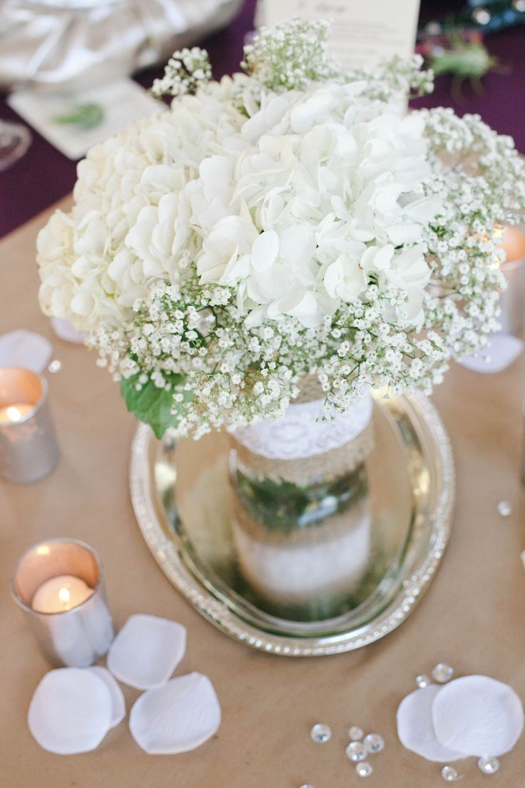 White hydrangea and baby s breathe centerpiece set in