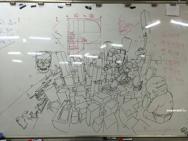 Introduction to perspective drawing  #chalkboardart #lecture #drawing #doodle #kimjunggi #illustration