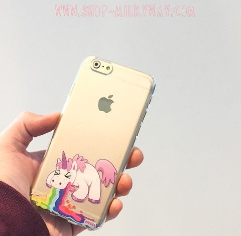 Clear Plastic Case Cover for iPhone 5 5S - (Henna) Unicorn Puke rainbow