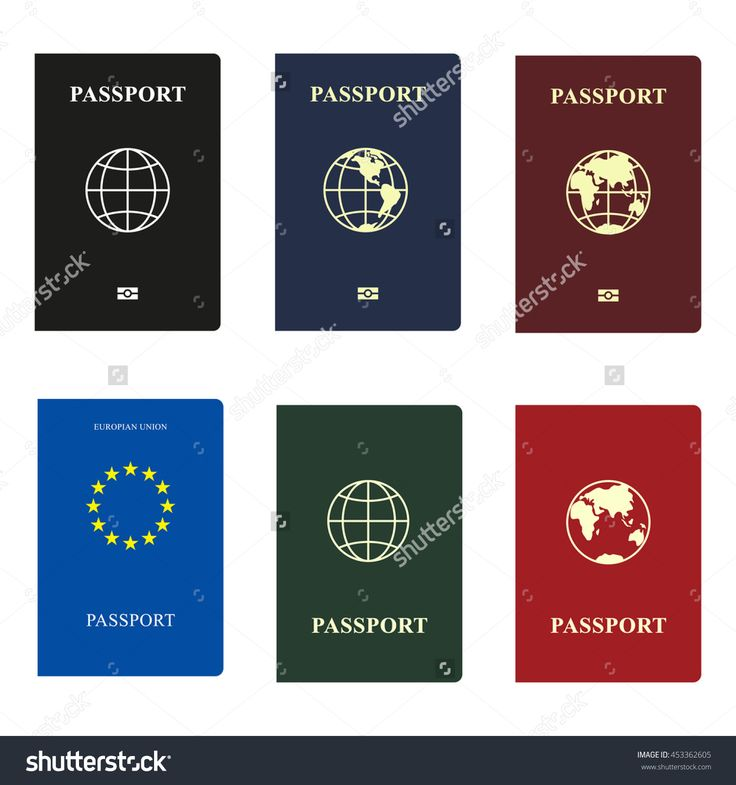 Set Passports With Globe, Vector, Isolated On White Background - 453362605 : Shutterstock