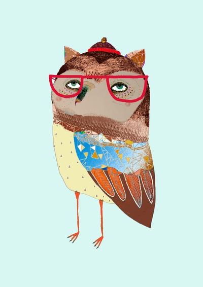 Coolest owl by Ashley Percival: Perciv Illustrations, Arti Stuff, Owl Art, Art Photography, Colors Owl, Coolest Owl, Art Prints, Nurseries Prints, Collage Owl