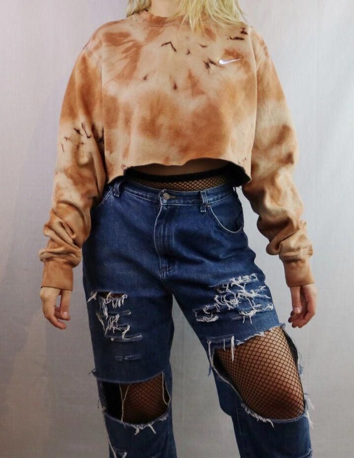 Custom Bleached Nike Pullover Sweatshirt. Distressed. Edgy. Grunge. Grungy 90s style. 1990s inspired. Streetwear. 2017 trend. Street style. Festival f...