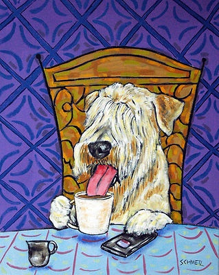 Soft Coated Wheaton Terrier at the coffee shopCoats Wheaten, Soft Coats, Terriers Coffee, Dogs Art, Coats Wheaton, Wheaton Terriers, Art Tile, Dog Art, Coffee Dogs
