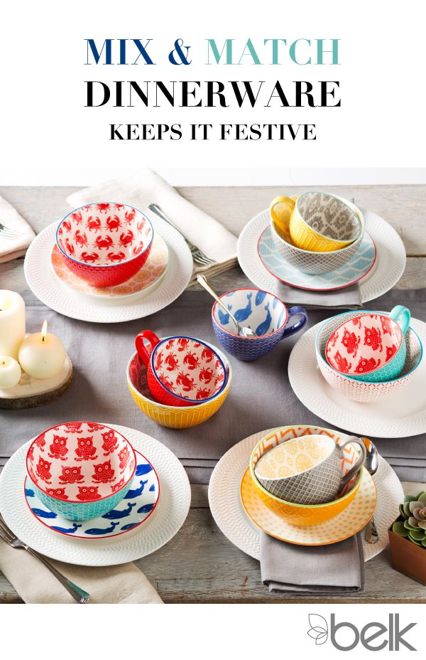 Try something new with mix and match dinnerware! Serve up some excitement with an assortment of bright colors, bold prints and classic white sets. Add whimsy to your winter table with animal patterns like owls, crabs or even whales. For every day or any holiday, serve up a feast for the eyes with an eclectic collection of dinnerware that?s almost too cute to eat off of. Shop mix and match dinnerware in-store and at belk.com.
