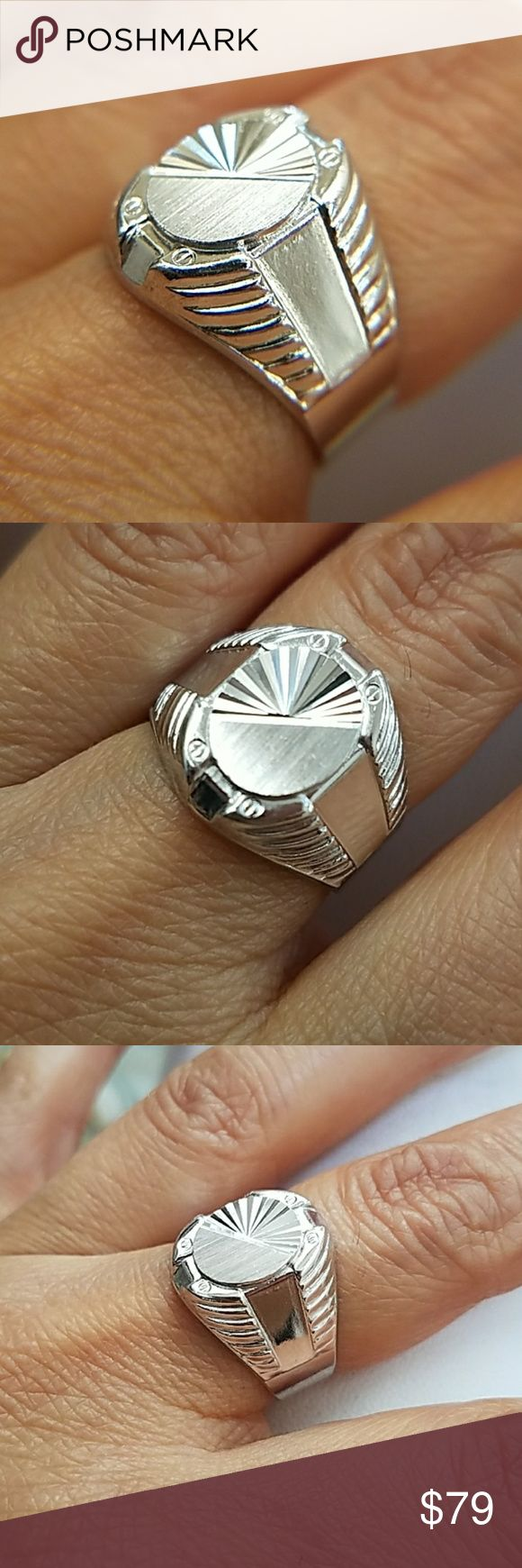 Silver Men's Signet Ring 15mm sz 7 8 9 10 11 12 13 14k White Gold plated over Sterling silver men's Signet Ring Available in sizes 7 8 9 10 11 12 13 With .925 Stamp inside the band  made in Italy Comes in a beautiful jewelry box  Item# SH0020 Accessories Jewelry