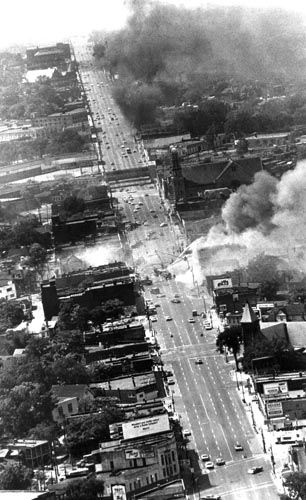 July 1967: Detroit erupts | The Detroit News And she's still erupting from the fall out of the riots right down to the economic fall out of the 00's. Rebound pretty lady.