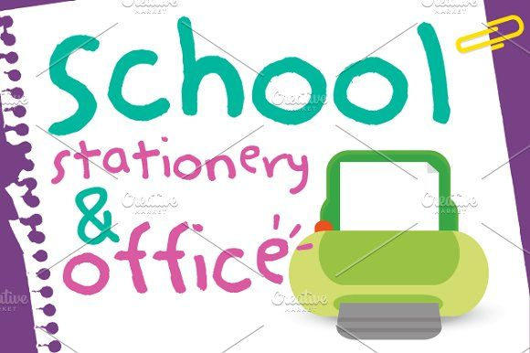 School stationery and office by himoki on @creativemarket
