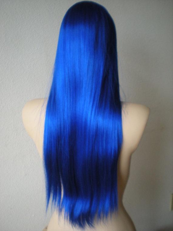 Long wig no bangs Long  Blue wig Straight Blue hair by kekeshop, $65.95