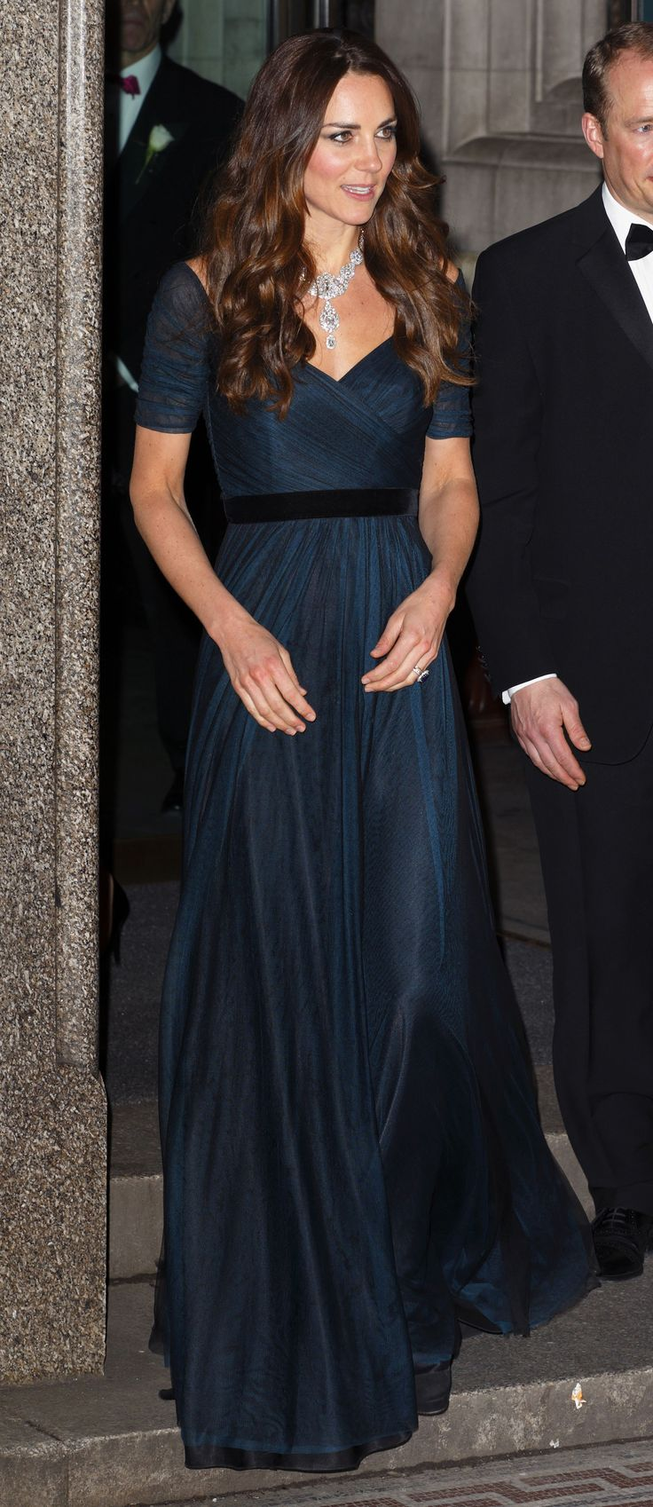 Kate Middleton Wears a Jenny Packham Gown Again, Borrows the Queen's Diamond Necklace