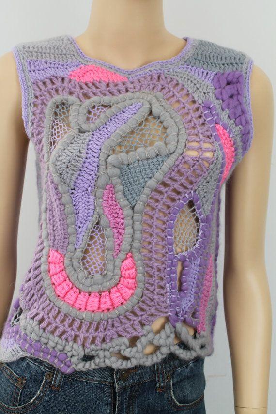 Boho Chic Hippie klobige Freeform häkeln Weste - Sweater - Wearable Art - Unikate Dies ist eine exklusive Weste in Freeform-Technik durchgeführt. Es