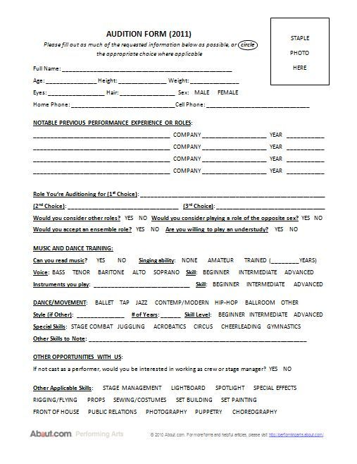 sample audition forms