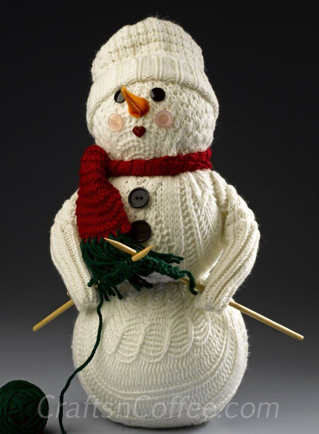 Another fun sweater craft! This knitting snowman is made with an old sweater. Fun idea. CraftsnCoffee.com.