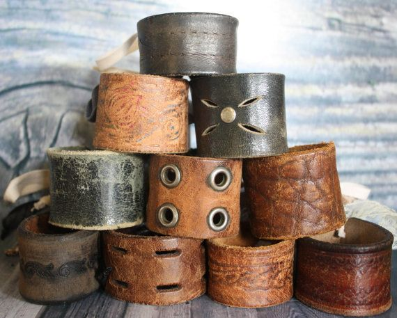 Cool vintage upcycled belt cuffs.    By BohoElegance.