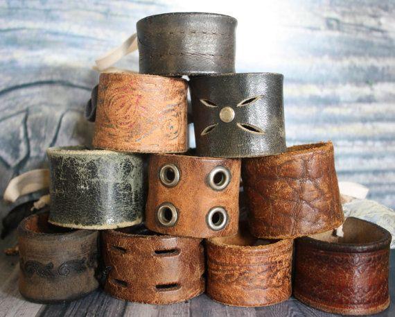 Cool vintage upcycled belt cuffs.    By BohoElegance.