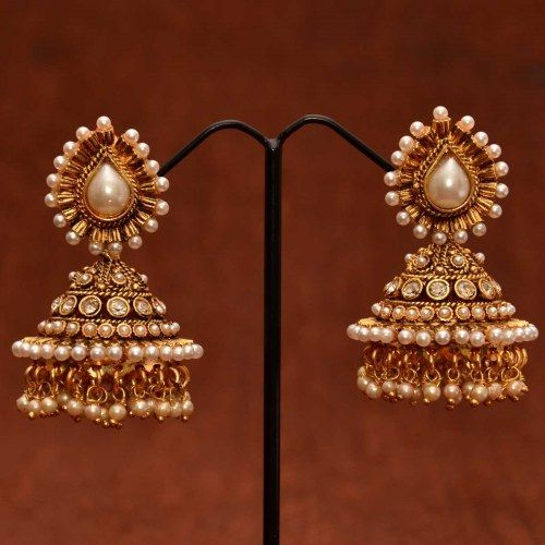 Anvi's designer polki pearl jhumkas with pearls and white stones