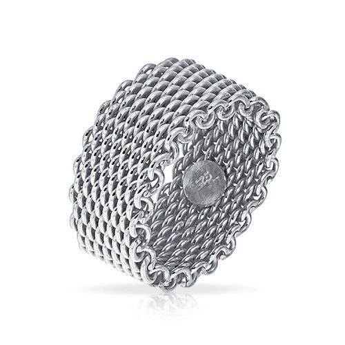 Bling Jewelry Bague Maille Souple En Argent 929 925
