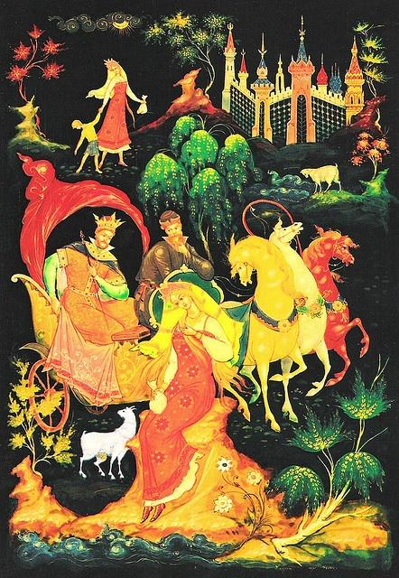 Palekh lacquer box illustrating the Russian folk tale of Sister Alionushka & Brother Ivanushka