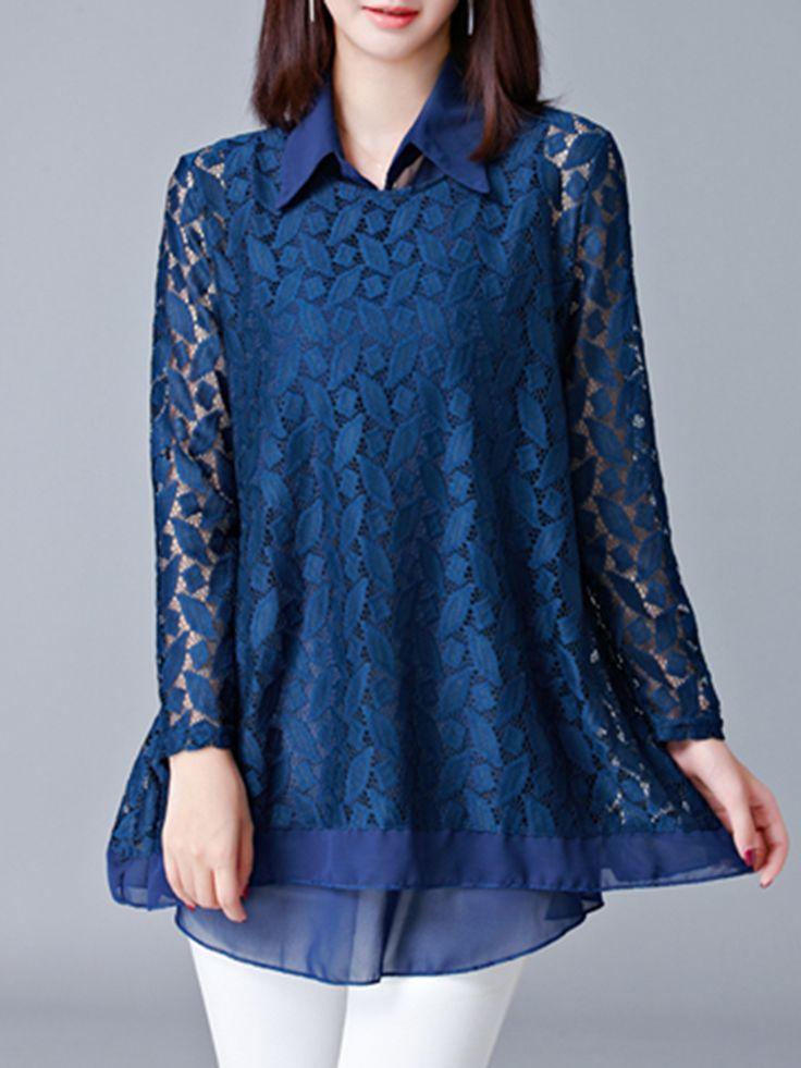 Women Crochet Lace Hollow Out Blouse