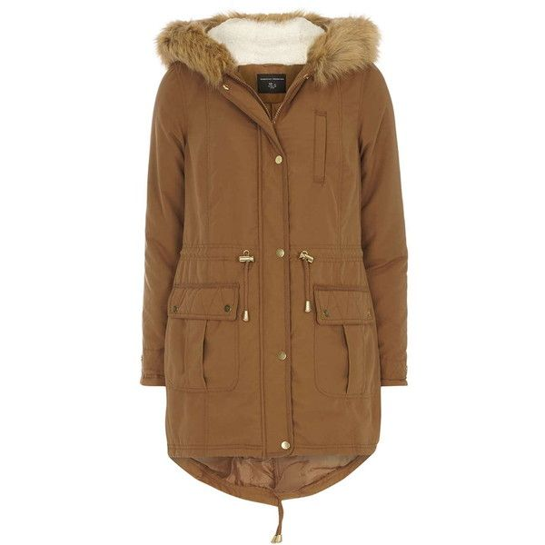 Dorothy Perkins Tan Faux Fur Hooded Parka ($83) ❤ liked on Polyvore featuring outerwear, coats, brown, parka coat, dorothy perkins, brown coat, tan coat and faux fur hood coat