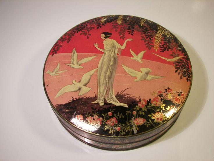 Rare French Advertising Candy Tin 1920s Woman & Birds Art Deco Werbe Blechdose