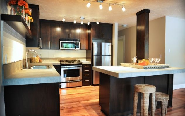 Kitchen Ideas With Cement Countertop And Colored Cabinets Farmhouse Photos on