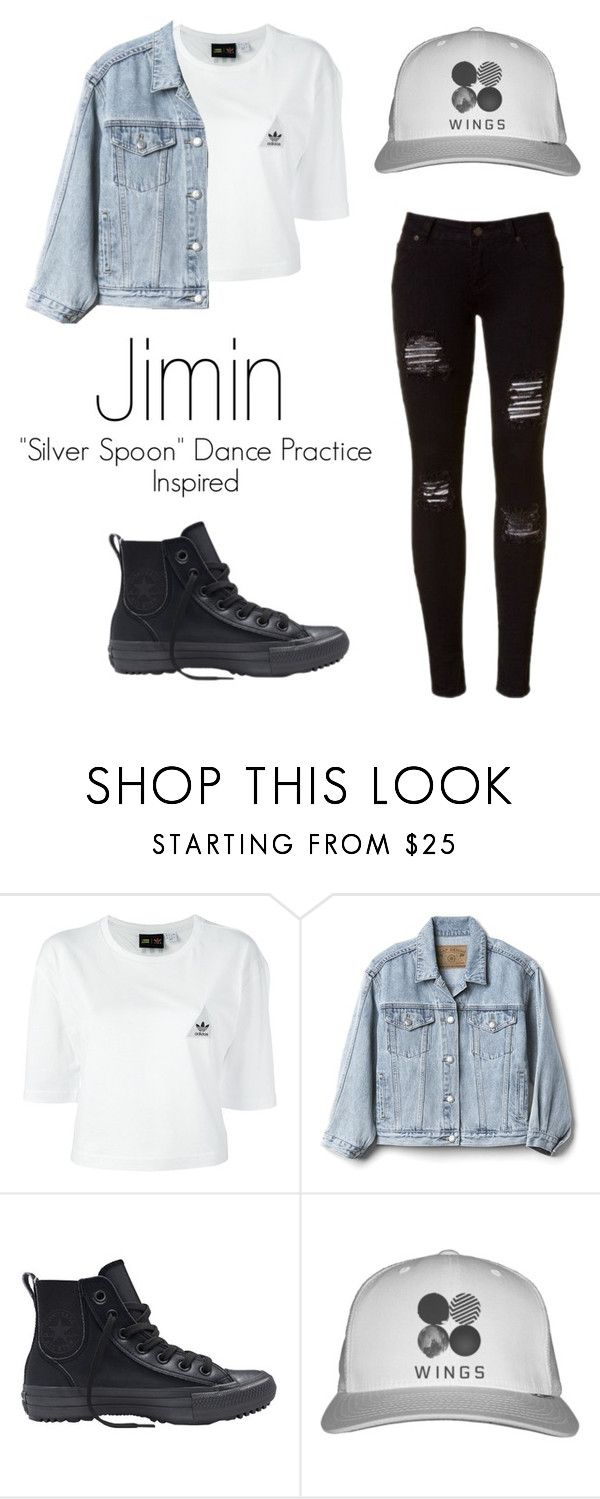 """Jimins ""Silver Spoon"" Dance Practice Inspired Outfit"" by mochimchimus on Polyvore featuring adidas, Gap and Converse"