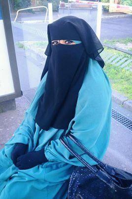 Sky Blue Jilbab with Nose String Niqab
