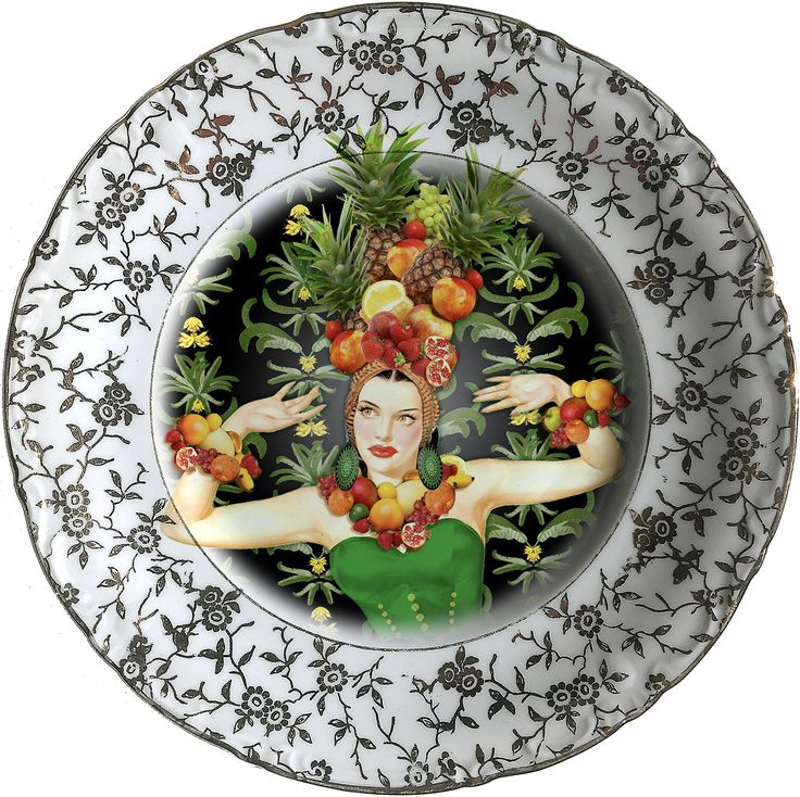 Is Miranda! Black - Carmen Miranda - Vintage Porcelain Plate - #0585 by ArtefactoStore on Etsy