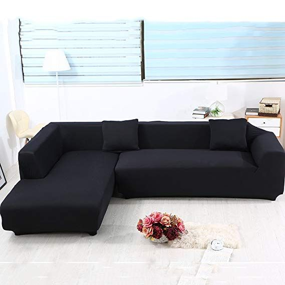 Eleoption Sectional Sofa Slipcover Couch Cover Universal Stretch Fabric Sofa Slipcover 2piece For Secti Sectional Sofa Slipcovers Slipcovered Sofa Sofa Covers