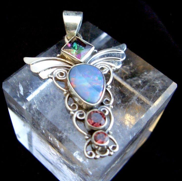 Genuine AUSTRALIAN OPAL Doublet, Garnet, Rainbow Topaz Gemstones, 925 Solid Sterling Silver, Angel Wings Pendant Jewellery! by…
