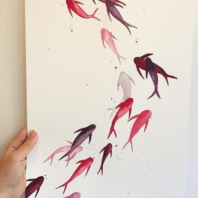 Enda en fiskesteam er produsert til min aller beste venn. Elsker fargene hun valgte🌸 God helg! #maling #hobby #kunst #kreative #illustration #illustrationoftheday #instaart #art #aquarelle #aquarellepainting #watercolor #fish #water #animal #painting #paintingoftheday #friday