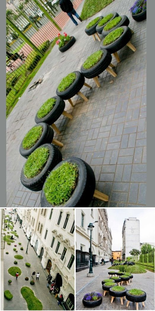 This public park in Lima was created in the middle of the the city, and incorporates recycled tires for planters and a children's playground. A few rolling hills and grass-cushioned benches complete Lima's urban public garden.