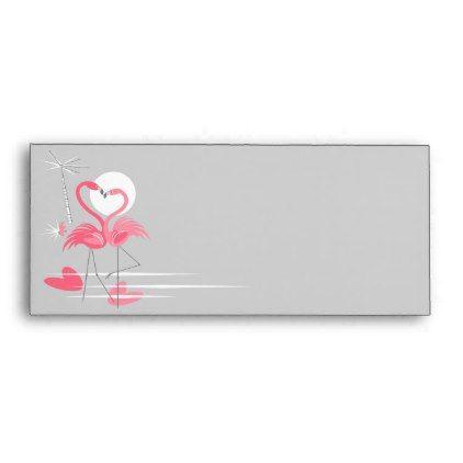 Flamingo Love Side business envelope - retro gifts style cyo diy special idea