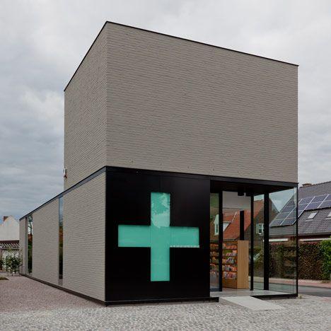 pharmacy in Ghent, Belgium. amazingly simple, compact, beautiful design.