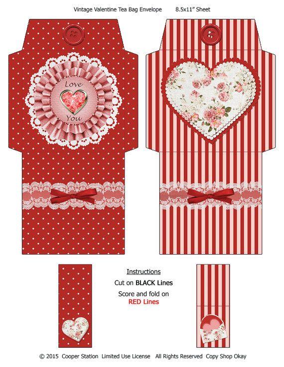 Printable Valentine Tea Wrappers and Box Set
