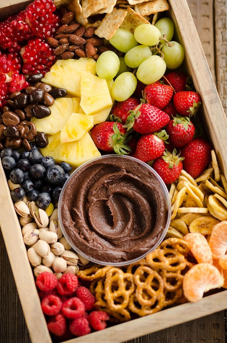 Healthy fruit chocolate party tray platter