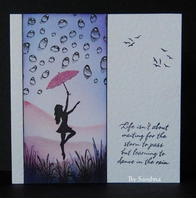 By Sandma - Made using Dancing in the Rain and Water Drop stamps by Inkylicious with ink dusted background