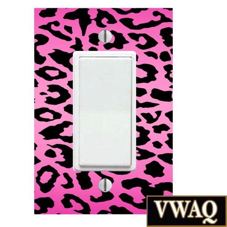 Pink Leopard Print Light Switch Cover (Ready to Hang) Leopard Spots Girls Room Decor VWAQ-LS4SF