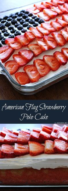 American Flag Strawberry Poke Cake (blend fresh strawberries instead of jello and use fresh whipped cream)