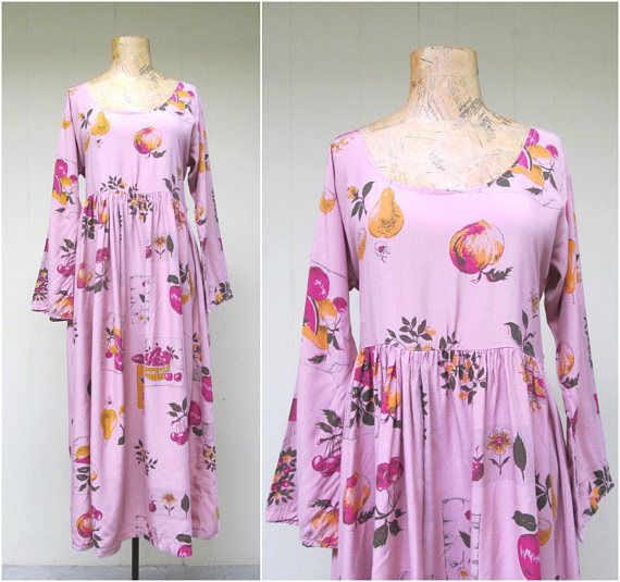 Vintage 1990s Dress / 90s Pink Rayon Fruit Print Baby Doll