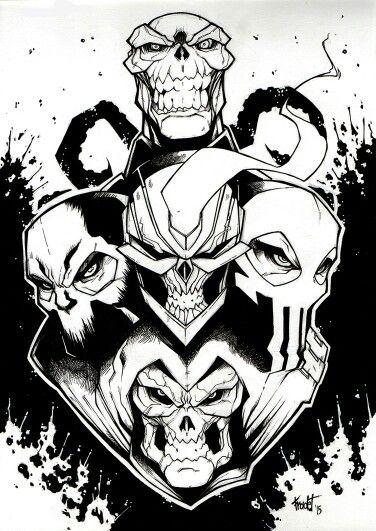 Marvel Skull Band Red Skull Crossbones Taskmaster The