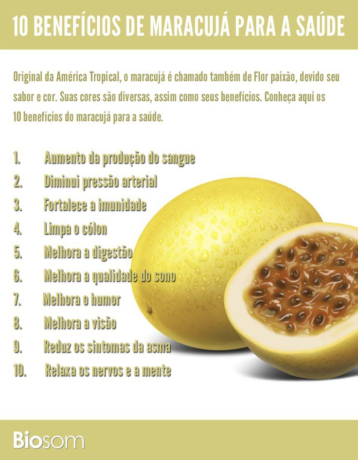 Clique na imagem e veja os 10 benefícios de maracujá para a saúde. #alimento #infográfico #maracujá #alimentaçãosaudável