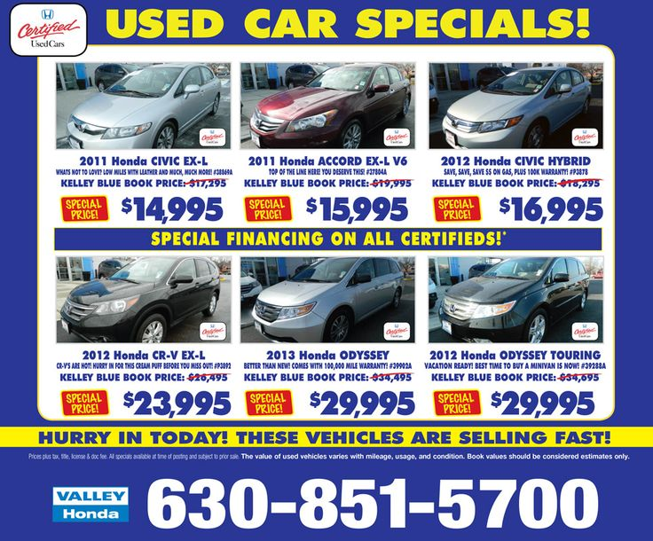 Valley Honda May Certified Used Car Specials Honda