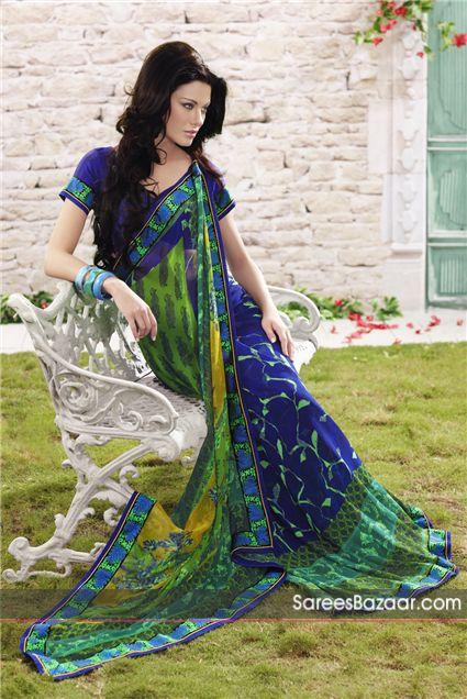 Saree azul diseño