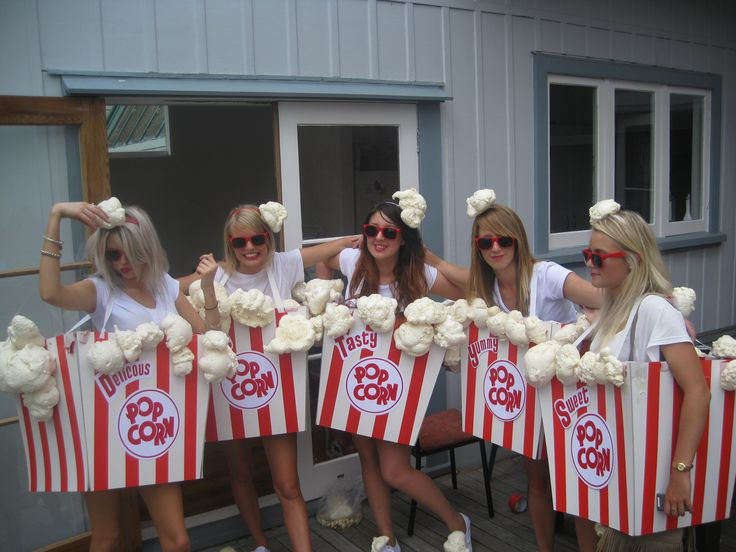 Our home made popcorn costumes!